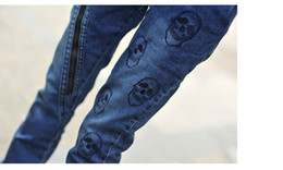 Wholesale Skull Jeans For Women - Wholesale-Jeans Women Trousers Slim Personality Zipper Skull Pencil Skinny Print Pants Jeans For Women Denim Calca Jeans Feminina New 2015