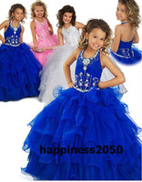 Lovely Blue Pink White Organza Halter Beads Flower Girl Dres...