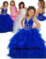 Lovely Blue Pink White Organza Halter Beads Flower Girl Dres...