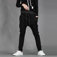 calça de moletom folgado venda por atacado-Atacado-New Mens Meninos Moda Harem Sports Dança Sweatpants Big Pockets Calças Baggy Jogging Calças Casuais Masculino traje novo pé dos homens