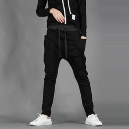 Wholesale Boots Boys - Wholesale-New Mens Boys Fashion Harem Sports Dance Sweatpants Big Pockets Pants Baggy Jogging Casual Trousers Male costume new men's foot