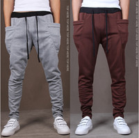 Wholesale Green Cargo Skinny Pants - Wholesale-Brand Pyrex Cargo Hip Hop Harem Pants Drop Crotch Pants Men Black Bandana Joggers Skinny Version of cultivate one morality