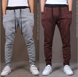 Wholesale Drop Crotch Joggers - Wholesale-Brand Pyrex Cargo Hip Hop Harem Pants Drop Crotch Pants Men Black Bandana Joggers Skinny Version of cultivate one morality