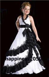 Lovely Whte&Black Taffeta Halter Beads Flower Girl Dress Holidays Skirt Birthday Dresses Pageant Dresses Custom Size 2 4 6 8 10 12 F1218006