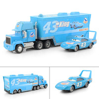 Wholesale Cars Mack Diecast - Wholesale-Pixar cars 2 Diecast THE KING Hauler Mack cars plastic truck+NO.43 small king racing toys for children Free Shipping 2Pcs Lot
