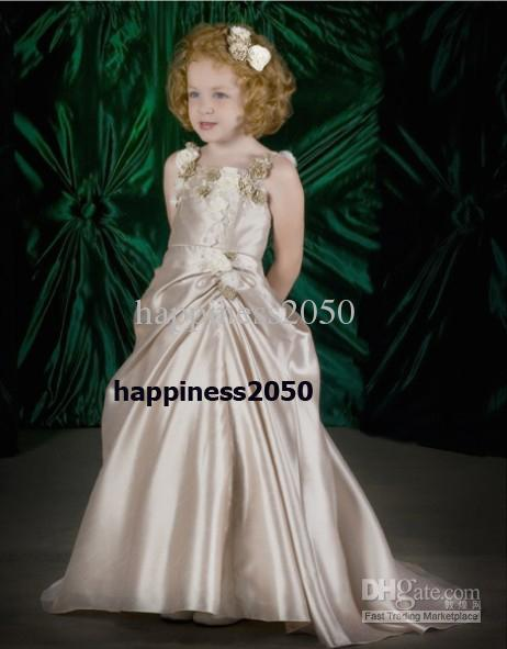 962fa3d66 Lovely Champagne Taffeta Straps Flower Girl Dress Holidays Skirt ...