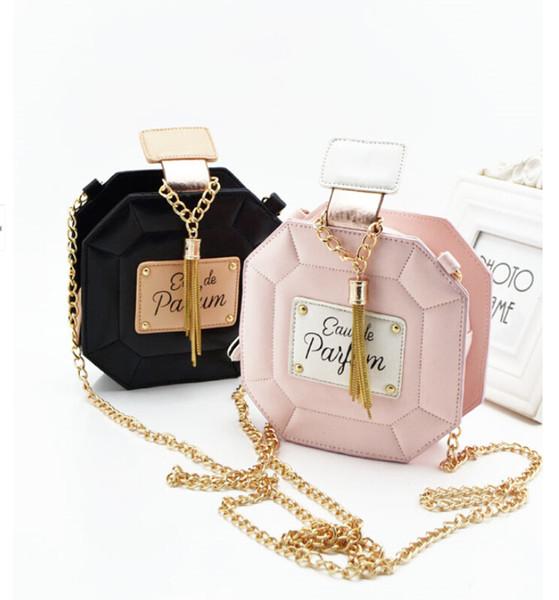 Wholesale-New 2015 botellas de perfume populares de cuero de la PU de las mujeres bolsas de cadena día embrague bolsa de mano hombro de la manera Crossbody bolsas BG088