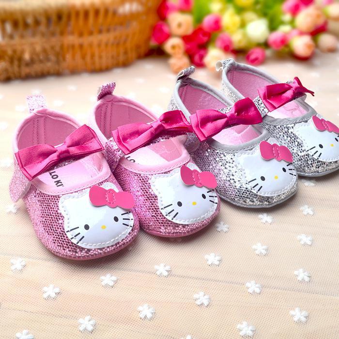 a2088d44477be Acheter Gros Bonjour Kitty Baby Girl Princesse Chaussures Bowknot Sparkly  Bébé Mignon Chaussures Rose KT Bambins Semelle Souple Premières Walkers  Drop Ship ...