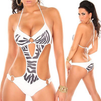 Wholesale Leopard Print One Piece Swimsuit - Wholesale-2015 New Women's One Pieces Swimwear Leopard Zebra Striped Printed Swimsuit Slim With Push Up 3colors S M L Cutout Gauze Sexy