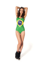 Wholesale World Swimsuit - Wholesale-New 2015 Women Bathing Suit One Piece Swimsuit Sexy Swimwears Women World Flags Brazil Swimsuit High Waist Swimsuits For Women