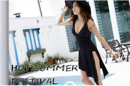 Wholesale Swimwear One Piece Monokinis - Wholesale-Hot Sale Black Bathing Bath Suit Lady One Piece monokinis Slim sexy swimwear plus size piece swimsuit cover the belly