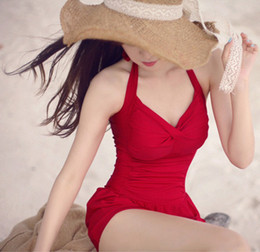 Wholesale Cheap Suit For Women - Wholesale-Sexy Swimming Suit For Women Monokini Red Ruffle One Piece Cheap Things Swimwear Bathing Suits Summer Dress Black Friday Sales