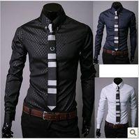 Wholesale Cheapest Slim Fit Dress Shirts - Wholesale-2015 Free shipping cheapest new men's business shirts,casual slim fit stylish dress shirts Size:M-XXXL 5912