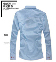 Wholesale Decorated Collar Shirt - Wholesale-New Men's Slim Fit Shirts Stripe Collar Embroidery Decorated Wooden Button Shirt
