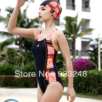 Wholesale Trigonometric Swim - Wholesale-One piece trigonometric slim female professional swimwear 13032 swimming cap