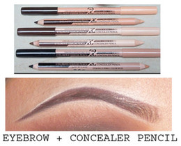Wholesale Eyebrow Concealer - Wholesale-48pcs lot maquiagem eye brow Menow makeup Double Function Eyebrow Pencils & Concealer Pencils maquillaje
