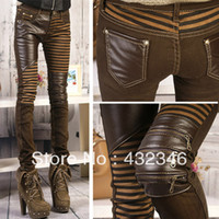 Wholesale Brown Leather Skinny Pants - Wholesale-Free Shipping New Arrival Women' PU Leather Patchwork Jeans Pants Fashion Zippers Boots Trousers Pencil Pants Brown and Black