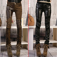Wholesale Ladies Faux Leather Jeans - Wholesale-2015 Spring Women Fashion PU pants Large size bootcut Ladies patchwork leather Skinny pants tight trousers jeans female