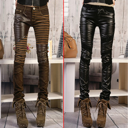 Wholesale ladies faux leather pants - Wholesale-2015 Spring Women Fashion PU pants Large size bootcut Ladies patchwork leather Skinny pants tight trousers jeans female