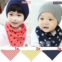 Wholesale Kids Printed Towels Sizes - Wholesale-Five Stars Infant Saliva Towels Adjustable Size Baby Kids Toddler Bandana Bibs 2-layer Baby 100% Cotton Bibs Burp Cloths