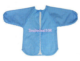 Wholesale Children Art Smock - Wholesale-Baby Toddler Kids Waterproof Feeding Bibs Long Sleeve Children Feeding Art Smock Bib Apron
