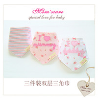 COTTON HK1012# Unisex Wholesale-Free shipping babador 3pc lot 100% cotton brand girls baby bibs towel bandanas chiscarf ldren cravat infant towel jardineira