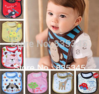 Wholesale Embroidered Burp Cloths - Wholesale-5pcs Cotton Baby Boys Girls Bibs Infant Embroidered Saliva towels Feeding Burp Cloths Lovely Baby Accessories Waterproof bib