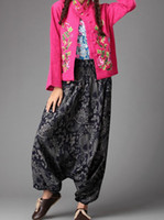 Wholesale Nepal Fabric - Wholesale-National crotch pants hanging wide leg pants Boho style unisex India Nepal harem pants casual trousers fabric pants