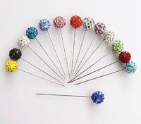 parlak çubuk toptan satış-Toptan-eşarp sopa pin Başörtüsü pimleri kristal eşarp pin parlak kristal tam top şekilli sabit emniyet pimi karışık renkler 12 adet / grup ücretsiz gemi