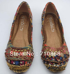 Wholesale National Wind Shoes - Wholesale-2015 hot new fall Bohemian national wind beaded flat shoes shoes women shoes free transportation