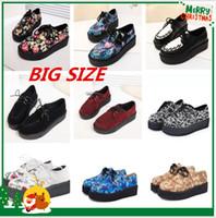 creepers schuhe 35 großhandel-Wholesale-Plus Größe 35-41 Creepers Plateauschuhe Frau Wohnungen Schuhe weibliche Creepers Schuhe Schuhe Frauen Schuhe schwarz R02