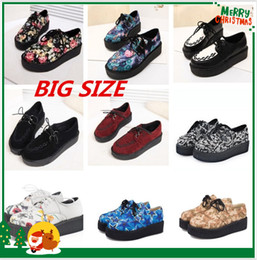 Wholesale Plus Size Creepers Platform Shoes Woman Flats Shoes Female Creepers Shoes Footwear Women Shoes Black R02