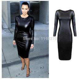 Wholesale Womens Batwing Sleeve Dress - Wholesale-Womens Black Sexy Pu Long Sleeve Pencil Dress O-neck Faux Leather Mid Party Bodycon Dress Wetlook Clubwear Plus Size L XL XXL
