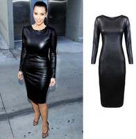 Wholesale Look Vestidos Sexy - Wholesale-NEW 2015 Plus Size Women Long Sleeve Leather Look Bodycon Dress Sexy Club Dress Autumn Fall Winter Office Casual Dress Vestidos