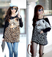 Wholesale Leopard Dress T Length - Wholesale-Women's Autumn Winter Batwing Sleeve Dress Casual Leopard tops Loose Plus Size Long Sleeve Animal Print T-shirt BG-F9482