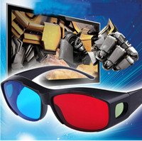 Wholesale Video Glass Viewer - Wholesale-3 XHot Sale Red & Blue 3D Glasses Viewer Plastic Frame Resin Lens Dimensional anaglyphic Movie Game DVD Digital Video