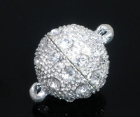 Wholesale Rhinestone Ball Magnetic Clasp - 30 Sets Silver Plated Rhinestone Ball Magnetic Clasps 23x16mm Findings