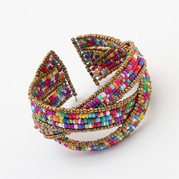 Wholesale Ethnic Crosses - Wholesale-7 color New summer Multilayer ethnic opening cross bohemian beaded bangles shaped jewelry for women 2015