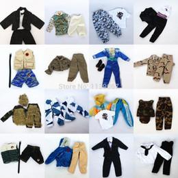 Wholesale Ken Doll Clothes Accessories - Wholesale-Hot 5 sets Doll Outfit Plug Suit   Ball Uniform   army combat uniform   Leasure Wear Clothes Accessories For Barbie Boy Ken Doll
