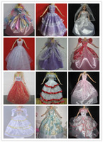 Wholesale Dress Girls Styling - Wholesale-11'' Girl Dolls Handmade Western-style Gown Dresses Doll Wedding Dresses 30Items= 10Dresses+10Shoes+10Hangers For Barbies