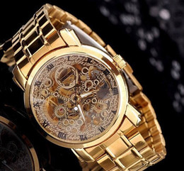 Wholesale Stainless Steel Back Water Resistant - Wholesale-Luxury Gold Plated Full Steel Women Skeleton Automatic Mechanical Wristwatches Back Transparent Waterproof Casual Watch NW530