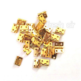 Wholesale Metal Accessories For Furniture - Wholesale-12pcs Mini Small Metal Hinges with Screws For 1 12 Dollhouse Miniature Furniture