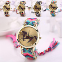 Wholesale Band Horses - Wholesale-Beautiful Women Lady's Knitting Braided Rope Band Horse Pattern Dial Analog Quartz Bracelet Wrist Watch