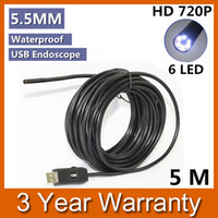 Wholesale Small Camera Endoscope - Wholesale-New Smallest 5.5mm Mini USB IP67 Waterproof 720P HD Lens Endoscope Borescope Snake Inspection Camera with LED Light 5M