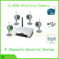 Wholesale Wireless Usb Security Camera System - Wholesale-2.4GHz Wireless 4 channels camera with Digital USB DVR ,CCTV Camera Security System Free Shipping Via DHL Or EMS