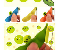 Wholesale Soya Bean Pop Up Keyring Keychain Stress Relief Toy Green Lucky EDAMAME Keychain Bean Pea key ring fedex