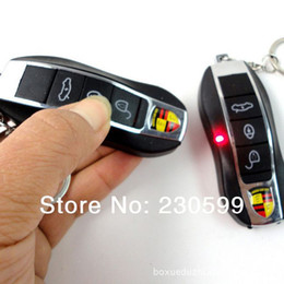 Wholesale Toy Car Keys Remote - Wholesale-10pcs lot Remote Control Electric Shock Car Key Great Prank Trick Toys Shocker Keychain Free Shipping