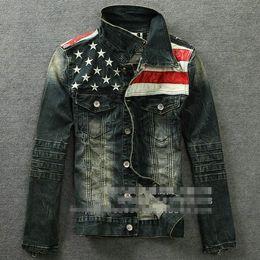 Wholesale Mens Denim American Flag Jacket - Wholesale-Free shipping New Fashion 2015 Winter Men American Flag Denim pu Jacket Slim Fit Men's Jackets And Coats Mens Bomber