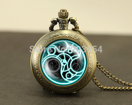Wholesale Pocket Watch Lockets - Wholesale-Uk movie fashion Doctor Who Pocket Watches quartz 1pcs Necklace,Dr Who masters brass watch locket necklace,Timelord Seal pedant