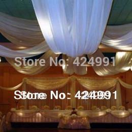 Wholesale Wholesale Blackout Drapes - Wholesale-White 48cm x10m Chiffon Wedding Ceiling Drapes &Swag for Wedding Events and Party Decoration